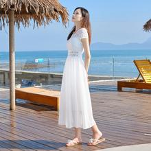 雪纺连衣裙女2021新式蕾丝xi11瘦沙滩ou长裙气质白色仙女裙