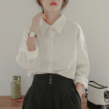 白色衬xi女宽松设计in春秋长袖百搭气质叠穿垂感百搭尖领衬衣