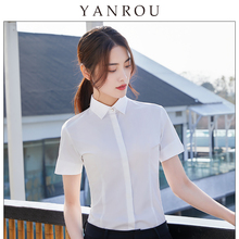 白衬衫女短袖职业气质2021xi11薄款正la装修身免烫白色衬衣