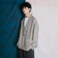 蒙马特先生 韩款西装外套男xi10秋季慵anF男女条纹百搭上衣