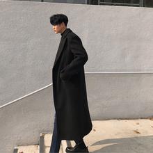 秋冬男xi潮流呢韩款ng膝毛呢外套时尚英伦风青年呢子