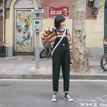 忠犬(小)xi梨形自制-ng仔背带裤-春季宽松韩款百搭背带裤学生女