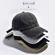 帽子女xi古水洗做旧js球帽韩款chic英文刺绣街头软顶鸭舌帽男