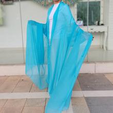 天蓝色xi巾女夏薄式ai式纱巾春秋超大纯色沙滩巾披肩