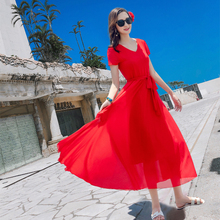 雪纺连xi裙短袖夏海le蓝色红色收腰显瘦沙滩裙海边旅游度假裙