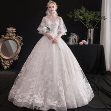 轻主婚xi礼服202ng新娘结婚梦幻森系显瘦简约冬季仙女