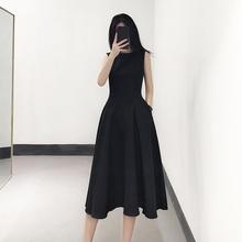 �o袖(小)黑裙收腰黑色xi6衣裙女�bty新款中�L款赫本秋冬打底背心裙