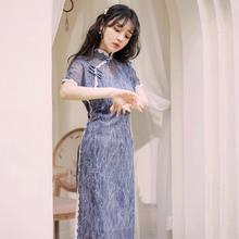 走秀演出旗袍女夏季2021新xi11中���Lty��w袖中�L款�B衣裙