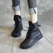 欧洲站xi品真皮女单jc马丁靴手工鞋潮靴高帮英伦软底
