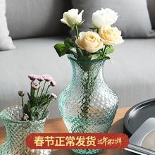 西班牙xi口手工花瓶wo明玻璃客厅餐桌装饰台面插花水培花器皿
