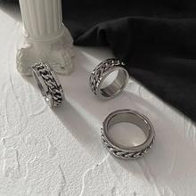 欧美ixis潮牌指环in性转动链条戒指情侣对戒食指尾戒钛钢饰品