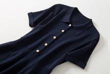 升级款xi肚显瘦松本vc0式法式POLO领短袖冰丝A字针织连衣裙女