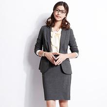 OFFxiY-SMAlu试弹力灰色正装职业装女装套装西装中长式短式大码