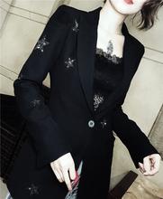 欧洲站xi021新式lu瘦重工水钻西装外套高档正装百搭欧美西服女