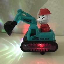 电动万xj工程车挖土gw宝宝玩具男孩闪光音乐玩具车