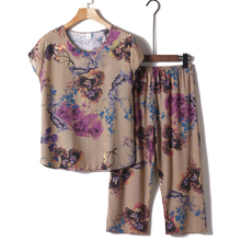奶奶装xj装套装老年mc女妈妈短袖棉麻睡衣老的夏天衣服两件套