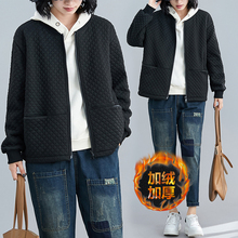 冬装女xj020新式uy码加绒加厚菱格棉衣宽松棒球领拉链短外套潮