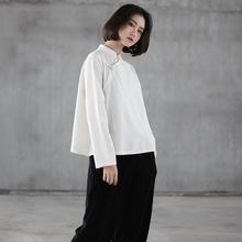 中式棉xj盘扣衬衫女wp襟长袖茶服复古打底白衬衣禅意套头上衣