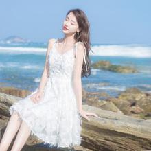 202xj夏季新式女wp度假沙滩裙(小)个子a字仙女裙流苏吊带连衣裙