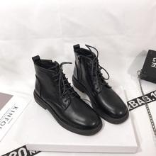 韩国老xk娘同式短靴lu1春季新式透气圆头软底低筒马丁靴女侧拉链