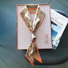 韩款细xk式气质(小)领lp百搭韩国新式双面飘带春秋季装配饰