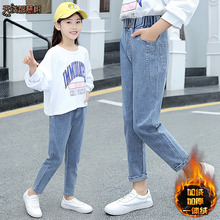 女童牛xl裤秋装新式lt装冬季加绒加厚宽松外穿洋气宝宝长裤子