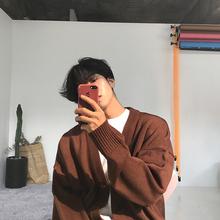 MRCxlC 针织衫sj大毛衣V领单排扣纯色针织毛衣开衫外套男