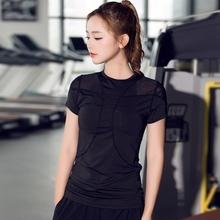 肩部网xl健身短袖跑xf运动瑜伽高弹上衣显瘦修身半袖女