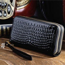 新式大xm量女士长式ks功能双拉链漆皮多卡位手拿包手机零钱包