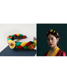 藏族头xm女藏式 藏fw 压发辫子西藏女士编假头发民族发箍毛线