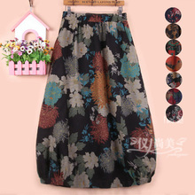秋冬axm灯笼花苞印rf裙女装棉麻半身裙子中长式大码高腰亚麻