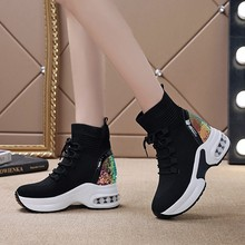 内增高xn靴2020yf式坡跟女鞋厚底马丁靴弹力袜子靴松糕跟棉靴