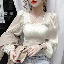 202xn秋装新式设rc式泡泡袖雪纺衫薄式白色衬衫女长袖