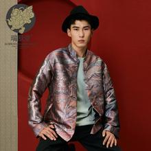 【男装xn兽堂】尊叹rc风复古印花设计师改良男式国潮唐装外套