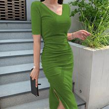 性感紧xn包臀连衣裙rc领短袖侧开叉长式t恤裙夏天褶皱显瘦长裙