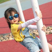 夏季儿xn防晒手套女uk冰丝袖套男生手臂套袖宝宝超薄护袖婴儿