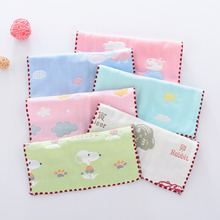 婴儿纱xo口水巾六层on棉毛巾新生儿洗脸巾手帕(小)方巾3-5条装