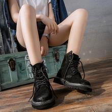 磨砂马丁靴女英伦风短靴xq8带复古学cn高帮粗跟机车靴女黑色