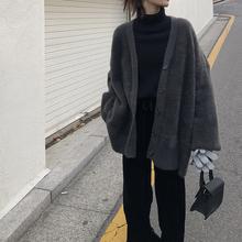 EKOxqL马海毛宽cv外套女秋冬季韩款显瘦加厚中长式V领针织开衫