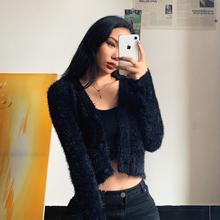 马海毛xs织开衫毛绒ys女欧美短式露脐宽松V领上衣(小)外套薄式