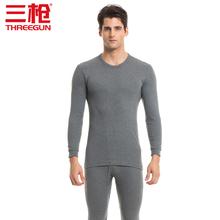 三枪内xs男士舒肤纯gw中厚薄式保暖秋衣秋裤长袖套装20947D9