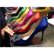 欧美水xs方扣绸缎尖qq鞋细跟浅口单鞋红色新娘婚鞋伴娘女鞋