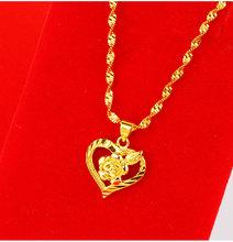 黄金吊xt女士套链 ix99足金盒子链水波链爱心玫瑰式吊坠