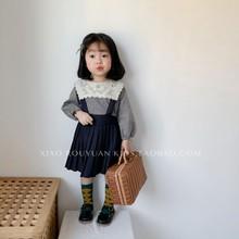 (小)肉圆xt1年春秋式hn童宝宝学院风百褶裙宝宝可爱背带裙连衣裙