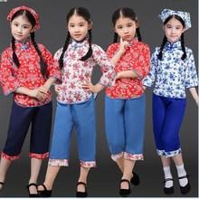 儿童村姑秧歌演出服卖花姑娘乡xt11民族风wh国舞蹈表演服装