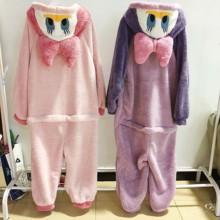 连体睡xt女春秋可爱zc厚长式卡通唐老鸭睡袍珊瑚绒家居服套装