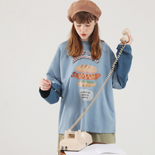 PROxu可爱卡通印ba件长袖T恤女韩款宽松薄式早秋打底衫上衣