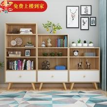 北欧书xu储物柜简约ye童书架置物架简易落地卧室组合学生书柜