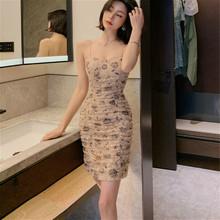 夏季新xu性感露肩抹ye包臀裙气质印花蕾丝吊带连衣裙