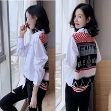 欧洲站春季xu021新款si装上衣设计感(小)众衬衣韩款拼接白衬衫女